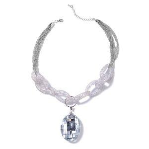 Jewelry - White Glass, White Austrian Crystal Iron Necklace